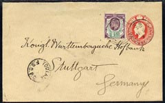 Great Britain 1905 KE7 p/stat envelope to Germany with additional 1.5d with
