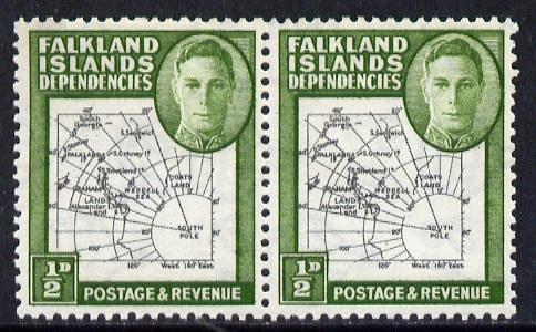 Falkland Islands Dependencies 1946-49 KG6 Thick Maps 1/2d horiz pair, one stamp with 'Broken Arc' variety, unmounted mint