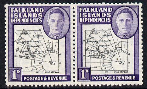 Falkland Islands Dependencies 1946-49 KG6 Thick Maps 1d horiz pair, one stamp with 'Broken Arc' variety unmounted mint