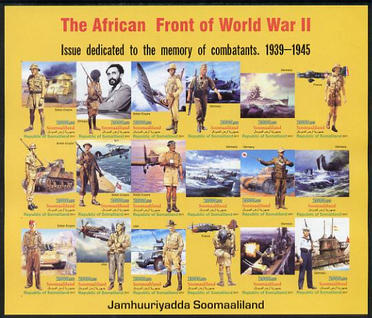 Somaliland 2011 The African Front of World War II #1 imperf sheetlet containing 18 values unmounted mint