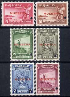 Paraguay 1942 4th Centenary of Asuncion perf set of 6 unmounted mint optd MUESTRA with security punch hole (ex ABN Co archives) SG 572-77