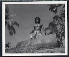 Fiji 1951 Fijian Beating Lali B&W photograph (2.5 x 2.0 in) as sumitted by the government as suggestion for a new stamp issue, with official h/stamp on reverse