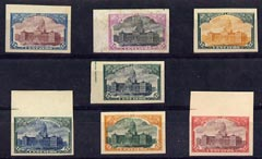 Argentine Republic 1910 Congress Building 12c selection of 7 imperf colour trials each on thin card