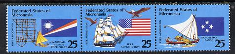 Micronesia 1990 Free Association strip of 3 (Birds, Ships & Flags) unmounted mint SG 198a