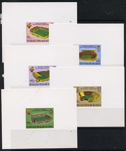 Congo 1980 Football World Cup deluxe miniature sheets (set of 5) imperf on thin card