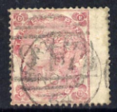 Great Britain 1862-64 QV 3d pale-carmine rose wing margin with light cancels, SG77