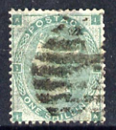 Great Britain 1862-64 QV 1s green plate 2 good colour but short perf, used SG90