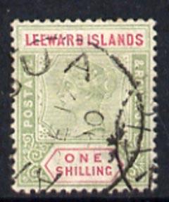 Leeward Islands 1890 QV 1s with Antigua  cds cancel SG7