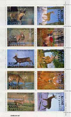 Komi Republic 1996 Deer sheetlet containing complete set of 10 values unmounted mint