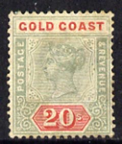Gold Coast 1889-94 QV CA 20s green & red a cleaned fiscal and probably regummed to produce a very acceptable space-filler of this exceptionally scarce stamp (cat \A33,250...