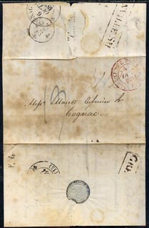 Great Britain 1834 pre-stamp entire London to Congnac (torn on opening) with str/line Grenville St & Cognac cds on back.