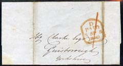 Great Britain 1840 pre-stamp PAID handstamp on wrapper to Yorkshire