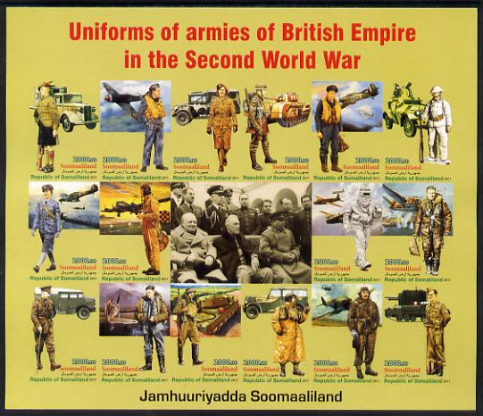 Somaliland 2011 Uniforms of Armies of the British Empire in World War II imperf sheetlet containing 16 values unmounted mint