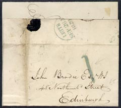 Great Britain 1829 pre-stamp wrapper Leith to Edinburgh