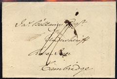 Great Britain 1802 pre-stamp entire to Cambridge, clean and fine