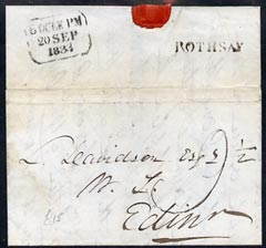 Great Britain 1833 pre stamp entire to Edinburgh with fine straight line ROTHSAY in black
