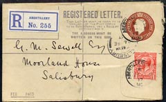 Great Britain 1917 KG5 3d p/stat reg env to Salisbury with additional 1d