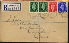 Great Britain 1937 KG6 1/2d (2), 1d & 2.5d on reg envelope with first day cancels