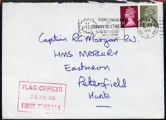 Great Britain 1974 cover from Flag Officer, First Flotilla, Portsmouth, Royal Coat of Arms on reverse (Military Mail)