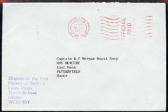 Great Britain 1973 Official cover from Chaplain of the Fleet, Ministry of Defence, nice emblem on reverse (Military Mail)