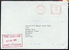 Great Britain 1985 cover from HMS Vernon to Surrey, with Royal Coat of Arms on flap (Military Mail)