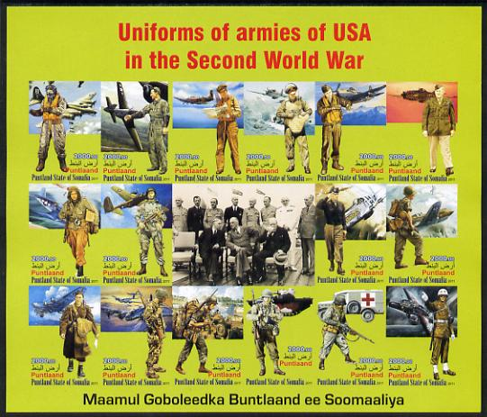 Somaliland 2011 Uniforms of Armies of the USA in World War II imperf sheetlet containing 16 values unmounted mint