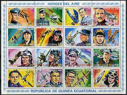 Equatorial Guinea 1974 (?) Heroes of the Air set of 16 fine cto used