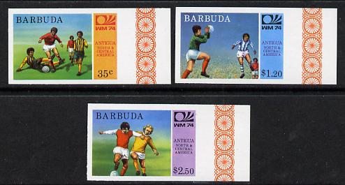 Barbuda 1974 World Cup Football imperf set of 3 (as SG 168-70) unmounted mint