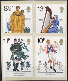 Great Britain 1976 British Cultural Traditions set of 4 PHQ cards unused and pristine