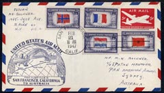 United States 1947 First Flight cover to Australia with special Golden Gate FAM 19 cachet