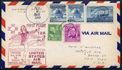 United States 1949 First Flight cover to Switzerland (Chicago to Zurich) with special FAM 27 cachet