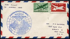 United States 1947 First Flight cover to Karachi, India with special FAM 18 cachet