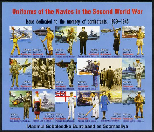 Somaliland 2011 Uniforms of the Navies in World War II #1 imperf sheetlet containing 18 values unmounted mint, stamps on militaria, stamps on  ww2 , stamps on aviation, stamps on uniforms, stamps on churchill, stamps on baseball, stamps on tanks, stamps on ships