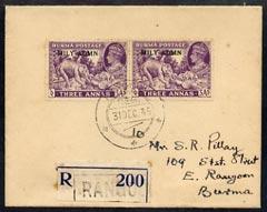 Burma 1945 KG6 neat reg cover bearing 2 x 3a (Teak industry) opt