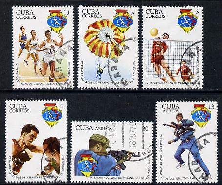 Cuba 1977 Military Spartakiad cto set of 6 (Boxing, Parachuting, Rifle), SG 2398-2403*