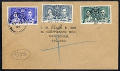 Turks & Caicos Islands 1937 KG6 Coronation set of 3 on cover with first day cancel addressed to the forger, J D Harris.  Harris was imprisoned for 9 months after Robson L...
