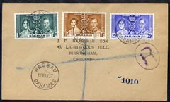 Bahamas 1937 KG6 Coronation set of 3 on reg cover with first day cancel addressed to the forger, J D Harris.  Harris was imprisoned for 9 months after Robson Lowe exposed...