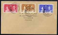 Barbados 1937 KG6 Coronation set of 3 on cover with first day cancel addressed to the forger, J D Harris.  Harris was imprisoned for 9 months after Robson Lowe exposed hi...