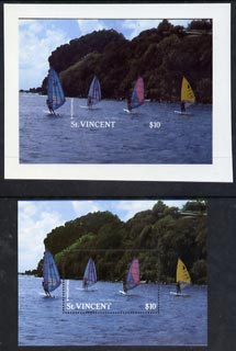 St Vincent 1988 Tourism m/sheet Windsurfers imperf proof in near issued colours of m/sheet on plastic card (Cromalin) plus issued m/sheet, Ex Format International archives