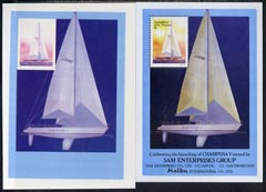St Vincent 1988 Racing Yachts imperf proof in magenta and blue only of m/sheet on plastic card (Cromalin) plus issued m/sheet, ex Format International archives