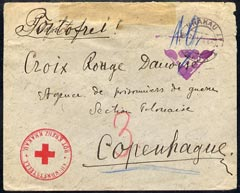 Poland 1918(?) WWI censored cover from Krakau to Copenhagen with fine d/ring Red Cross mark, d/ring Krakua cds plus indistinct violet triangular cancel.