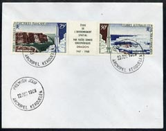 French Southern & Antarctic Territories 1968 Launching of Dragon Space Rocket se-tenant strip on cover with first day of issue cancel, SG 47-48