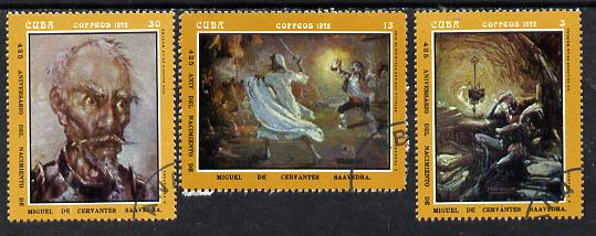Cuba 1972 Cervantes Birth Anniversary (Paintings by Fernandez) cto set of 3, SG 1966-68*