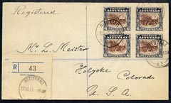 Cook Islands - Aitutaki 1931 reg cover to USA bearing 1920 block of 4 x 6d (SG 28 cat \A356 x 4 on cover) reg label canc 27 Oct 31
