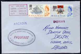 Bahamas used in Honolulu (Hawaii) 1968 Paquebot cover to England carried on SS Arcadia with various paquebot and ships cachets