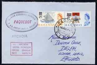 Bahamas used in Vigo (Spain) 1968 Paquebot cover to England carried on SS Arcadia with various paquebot and ships cachets