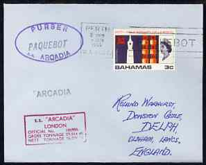 Bahamas used in Perth (Western Australia) 1968 Paquebot cover to England carried on SS Arcadia with various paquebot and ships cachets