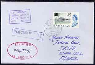 Bahamas used in Kobe (Japan) 1968 Paquebot cover to England carried on SS Arcadia with various paquebot and ships cachets
