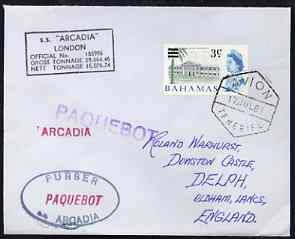Bahamas used in Tenerife 1967 Paquebot cover to England carried on SS Arcadia with various paquebot and ships cachets