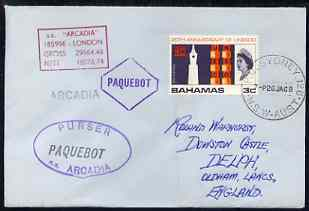 Bahamas used in Sydney (New South Wales) 1968 Paquebot cover to England carried on SS Arcadia with various paquebot and ships cachets
